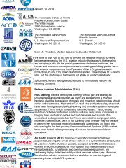 Nearly three dozen aviation groups sent a letter to President Trump and Congressional leaders Thursday urging an end to the government shutdown.