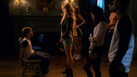 "Cole (Judah Lewis, left) runs afoul of a demonic cult of high schoolers in ""The Babysitter."""