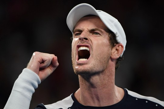 Britain's Andy Murray reacts after a point during his men's singles match against Spain's Roberto Bautista Agut on day one of the Australian Open tennis tournament in Melbourne on Jan. 14.