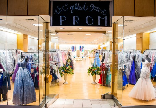 The Gilded Gown's prom section at Knoxville Center Mall.