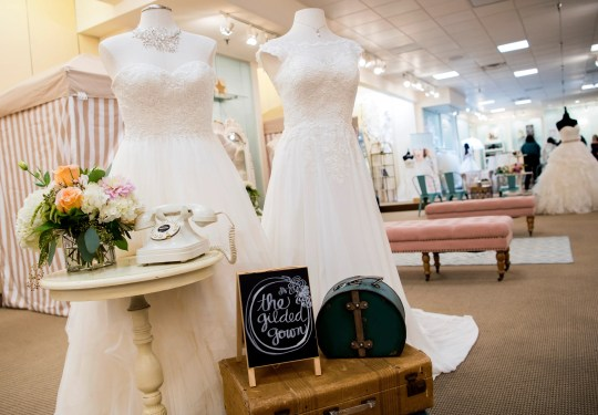 The bridal section at The Gilded Gown at Knoxville Center Mall.