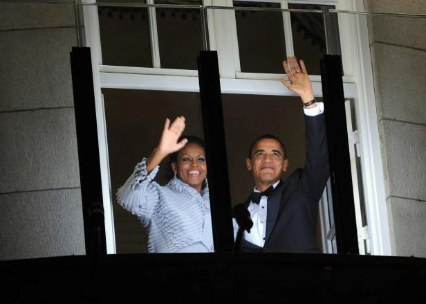 Michelle and Barack waved to a parade in Oslo before the president was awarded the Nobel Peace Prize in 2009.
