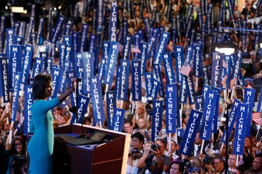 8/25/08 7:29:55 -- Denver, CO, U.S.A -- Democratic National Convention -- Michelle Obama speaks to the convention on the opening night of the DNC. Photo by Sam Riche, USA TODAY