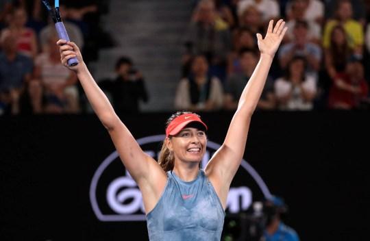 Maria Sharapova celebrates after defeating Caroline Wozniacki at the Australian Open.