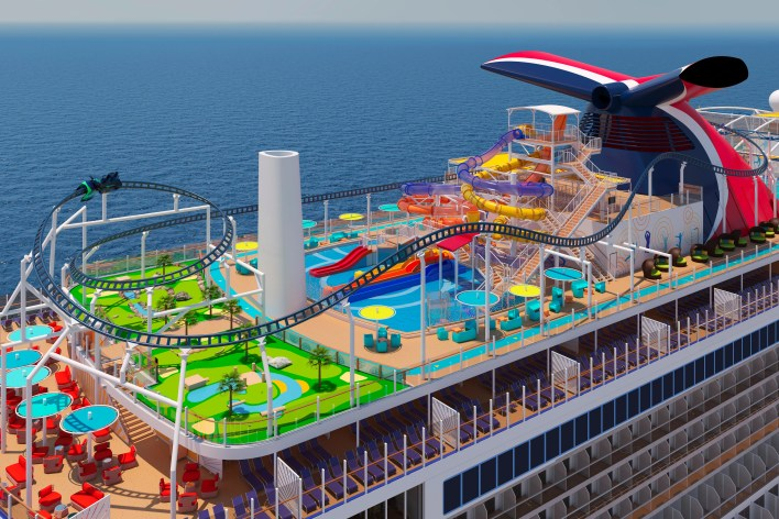 Carnival Cruise Line's giant new ship, the Mardi Gras, will featureBOLT: Ultimate Sea Coaster, the first roller coaster at sea, where riders will travel along an 800-foot-long track as speeds of nearly 40 miles per hour.