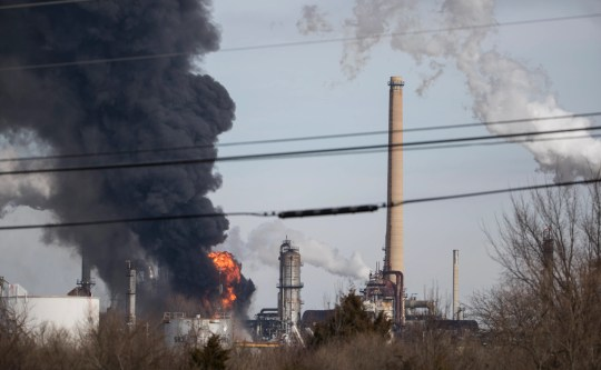 Multiple fire companies and first responders work the scene of a fire at the Delaware City Refinery Sunday afternoon.