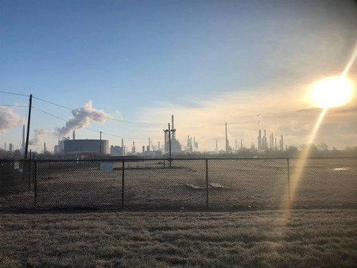 The Delaware City Refinery Monday morning, the day after a fire sent plumes of smoke into the area and shut down parts of area roads.