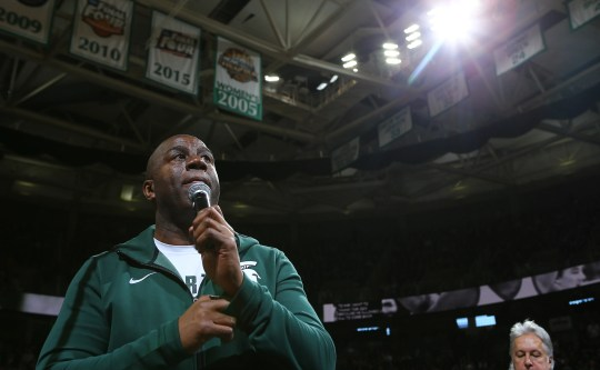Magic Johnson talks to the crowd during the game between Michigan State and Minnesota on Saturday, February 9, 2019, in East Lansing.
