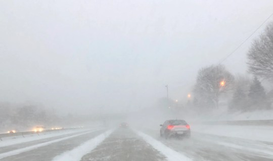 Weather conditions close to white were out on I-696 eastern West in Warren, on Sunday evening, February 10, 2019.