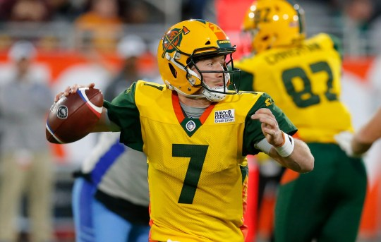 Arizona Hotshots QB John Wolford throws down field against the Salt Lake Stallions.