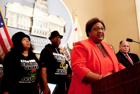 Assemblywoman Shirley Weber, D-San Diego, discusses her bill that would allow police to use deadly force only when there is no reasonable alternative, during a news conference, Wednesday, Feb. 6, 2019, in Sacramento, California.