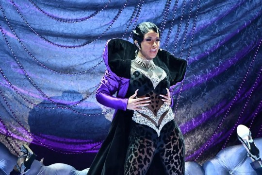 """Cardi B performs """"Money"""" at the Grammys."""