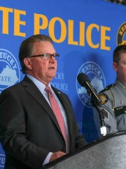 Kentucky State Police Commissioner Rick Sanders briefs the media about the shooting involving a Kentucky State trooper at KSP Headquarters in Frankfort. Feb. 13, 2019