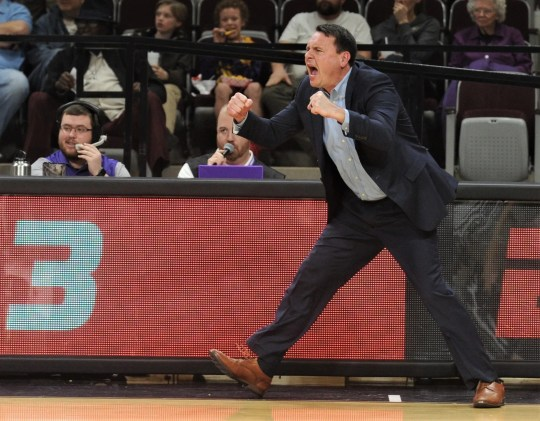 Joe Golding reacts after Payten Ricks hit a 3-point goal to pull ACU within seven (51-44) with 13:33 to play after trailing by 16 to Southeastern Louisiana. The Lions held on to beat ACU 75-66 in the Southland Conference game Saturday, Feb. 23, 2019 at Moody Coliseum.