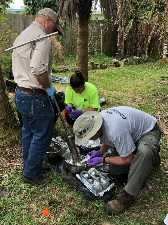 EPA and its contractors dug up samples in the yard of Sandra Sullivan this week in South Patrick Shores, to test for chemicals and metals from military waste buried in her yard decades ago.