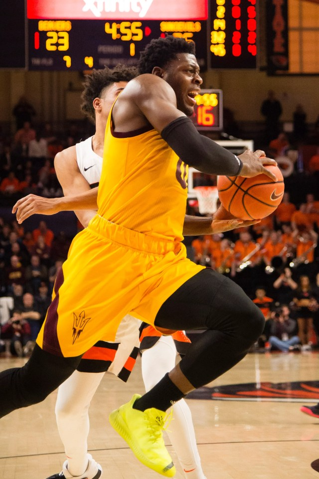 Mar 3, 2019; Corvallis, OR, USA; Arizona State Sun Devils guard Luguentz Dort (0) drives to the basket during the first half against the Oregon State Beavers at Gill Coliseum. The Arizona State Sun Devils beat the Oregon State Beavers 74-71.
