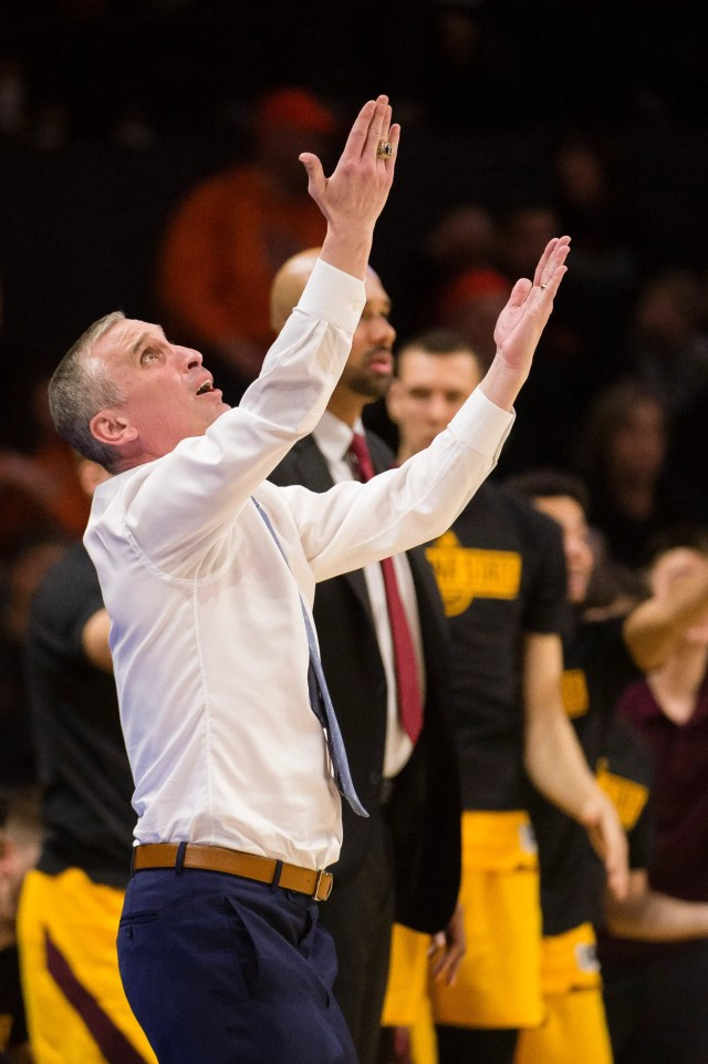 Mar 3, 2019; Corvallis, OR, USA; Arizona State Sun Devils head coach Bobby Hurley looks up at a replay in protest to an officials call during the second half against the Oregon State Beavers at Gill Coliseum. The Arizona State Sun Devils beat the Oregon State Beavers 74-71.