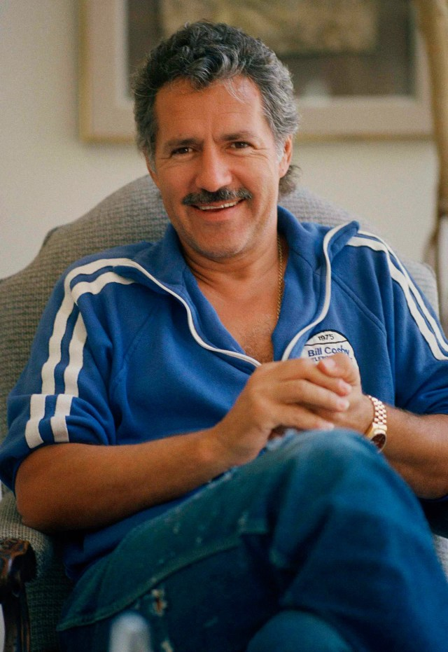For many years, game show host Alex Trebek, seen here in 1988, sported a signature mustache.