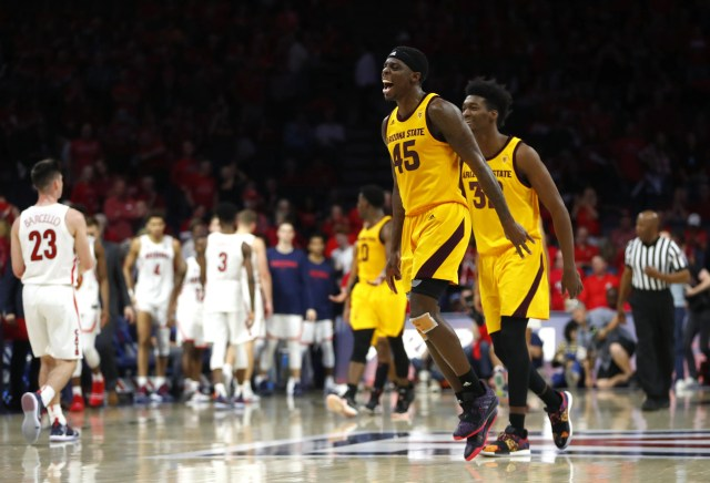 ASU's Zylan Cheatham (45) celebrates after ASU beat Arizona 72-64 at the McKale Memorial Center in Tucson, Ariz. on March 9, 2019.