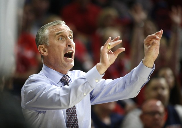 ASU's head coach Bobby Hurley yells to officials during the first half at the McKale Memorial Center in Tucson, Ariz. on March 9, 2019.