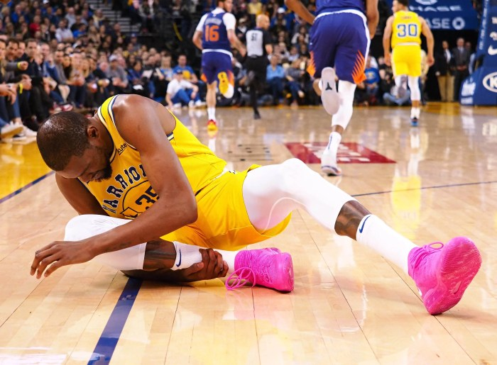 Kevin Durant left with an ankle injury midway through the fourth quarter and did not return.