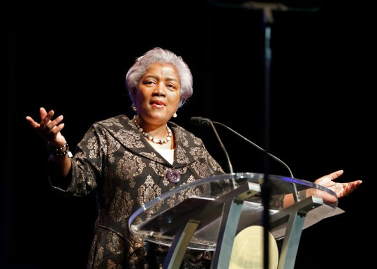 This May 7, 2018 file photo shows Donna Brazile speaking at the inauguration of New Orleans Mayor Latoya Cantrell in New Orleans.