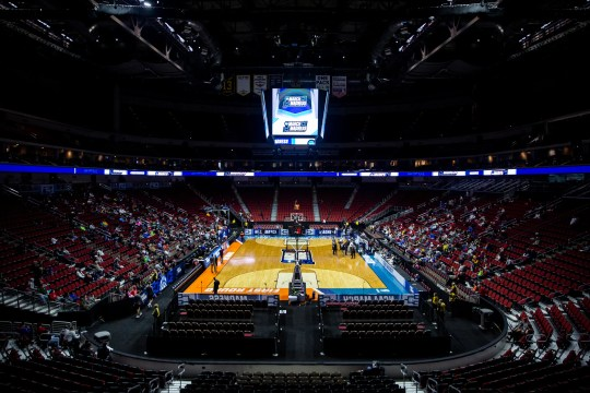 Wells Fargo Arena is set for Minnesota's open practice before the first round of the NCAA Men's Basketball Tournament on Wednesday, March 20, 2019, at Wells Fargo Arena in Des Moines, Iowa.