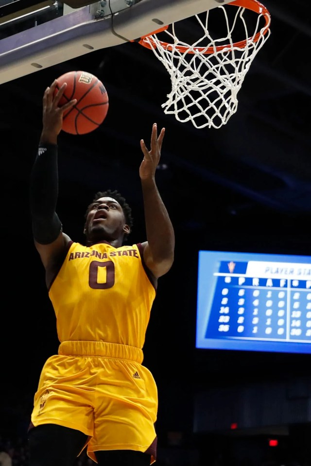 Mar 20, 2019; Dayton, OH, USA; Arizona State Sun Devils guard Luguentz Dort (0) goes to the basket in the first half against the St. John's Red Storm in the First Four of the 2019 NCAA Tournament at Dayton Arena. Mandatory Credit: Brian Spurlock -USA TODAY Sports