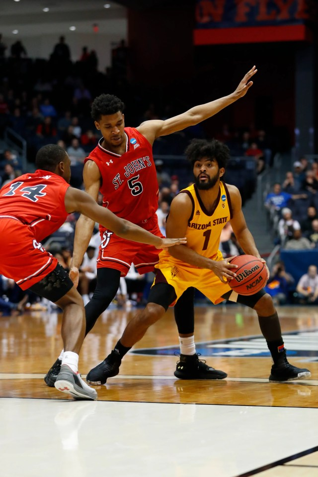 Mar 20, 2019; Dayton, OH, USA; Arizona State Sun Devils guard Remy Martin (1) looks to move down the court defended by St. John's Red Storm guard Justin Simon (5) and guard Mustapha Heron (14) in the First Four of the 2019 NCAA Tournament at Dayton Arena. Mandatory Credit: Rick Osentoski-USA TODAY Sports