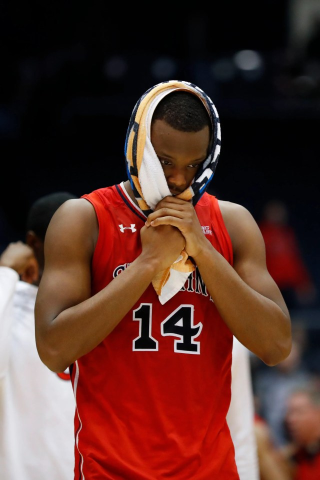 Mar 20, 2019; Dayton, OH, USA; St. John's Red Storm guard Mustapha Heron (14) walks off the court after being defeated by Arizona State Sun Devils in the First Four of the 2019 NCAA Tournament at Dayton Arena. Mandatory Credit: Rick Osentoski-USA TODAY Sports