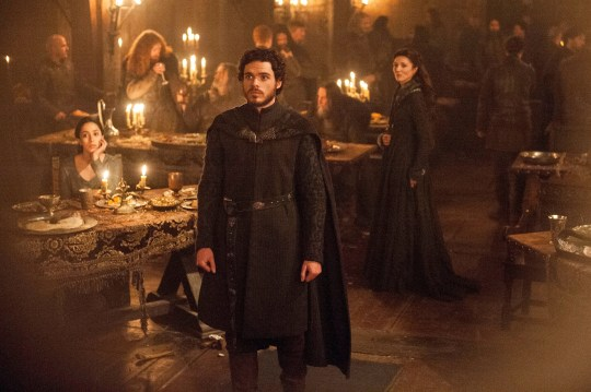"Oona Chaplin as Talisa, Richard Madden as Robb Stark and Michelle Fairley as Catelyn Stark in ""The Rains of Castamere"" episode of ""Game of Thrones."""