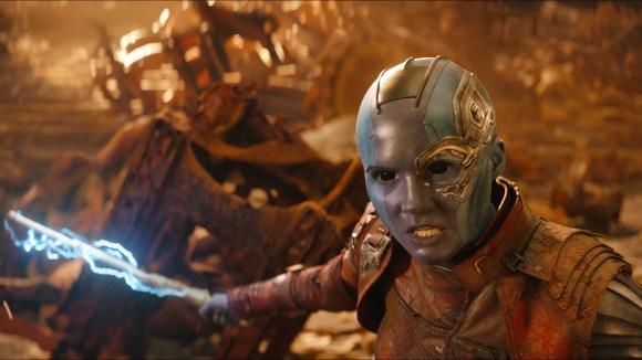 Nebula (Karen Gillan) has a score to settle with dear old dad Thanos.