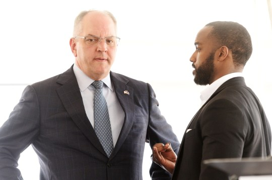 John Bel Edwards, seen with Shreveport Mayor Adrian Perkins, has no choice but to temporarily shutter its own fundraising operations for his gubernatorial campaign during the regular session.