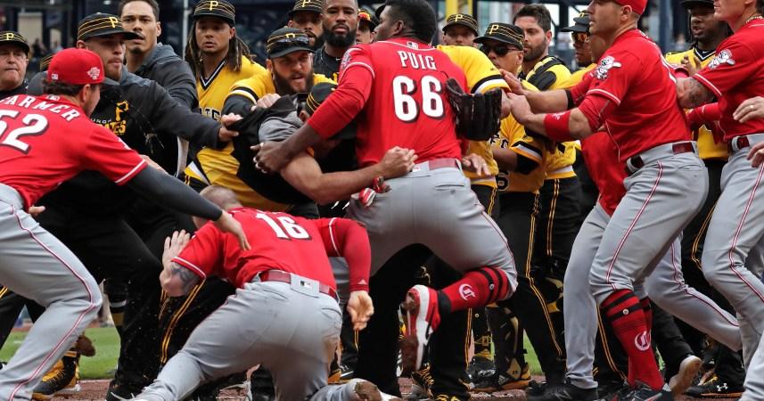 Image result for reds pirates brawl