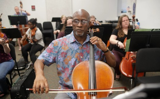 James Brown, a musician, plays for the Big Bend Orchestra at Tallahassee Community College on Thursday, 11 April 2019.