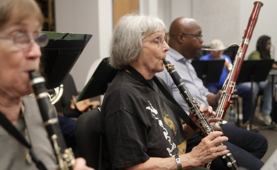 Ginny Dinsmore, founder of The Big Bend Orchestra, plays the clarinet during an exercise at Tallahassee Community College on Thursday, 11 April, 2019.