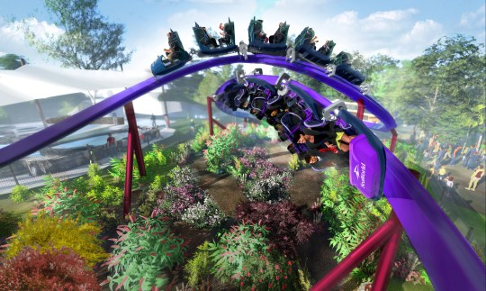 Tidal Twister features two trains that whisk by one another on a figure-8 track at SeaWorld San Diego.
