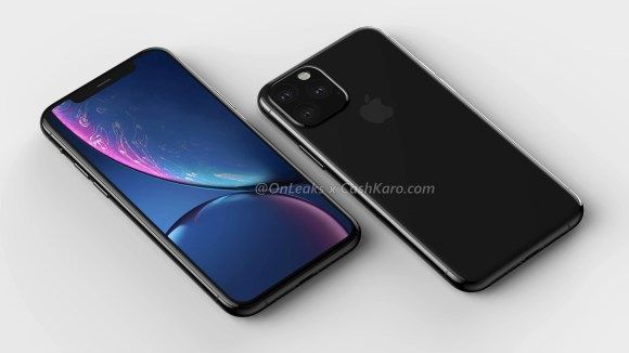 The camera bump on the upper corner rear is visible on this render of the iPhone 11.