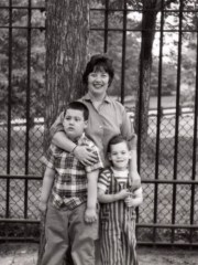 Andy Strauss, left, and Larry Strauss, right, with their mother, actress Charlotte Rae, in Central Park in New York in the early 1960s.
