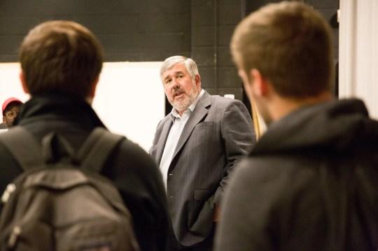 ESPN's Bob Ley speaks at a master class for Seton Hall University students.
