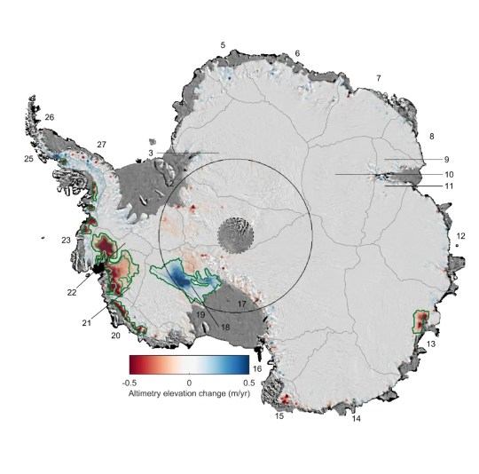 This map shows changes to the Antarctic ice sheet's thickness from 1992 to 2017. Ice loss is in red while ice gained is in blue.
