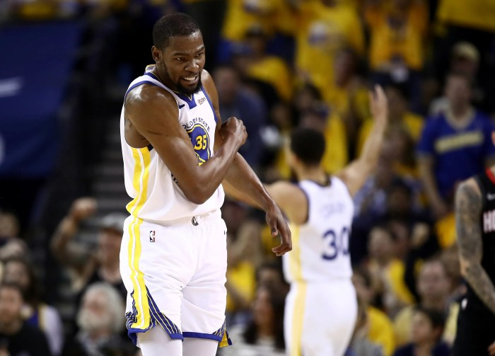 Kevin Durant sat out Game 1 of the NBA Finals, the sixth consecutive playoff game he has missed with a calf injury.