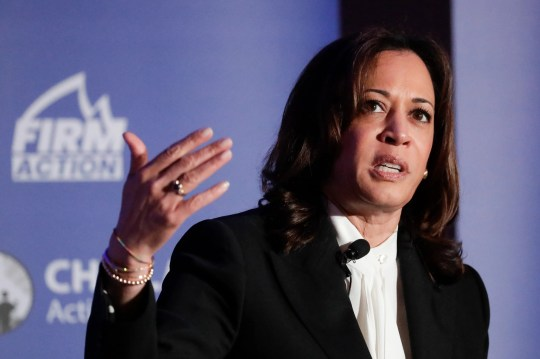 Democratic presidential candidate, Sen. Kamala Harris, D-Calif., speaks during a campaign event at the Unity Freedom Presidential Forum Friday, May 31, 2019, in Pasadena, Calif.