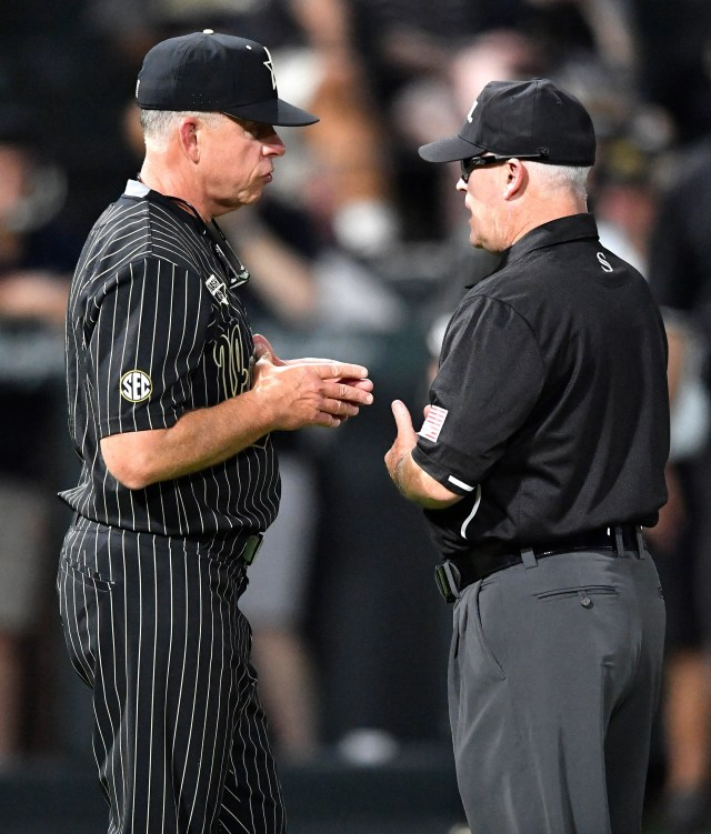 Vanderbilt head coach Tim Corbin challenges a play at second base with the second base umpire in the top of the ninth inning during the NCAA Division I Baseball Regionals at Hawkins Field Friday, May 31, 2019, in Nashville, Tenn.