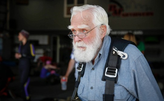 Ronald Mason, 100, of West Des Moines, looks out over the Winterset airport in Saturday, June 1, 2019, moments before fulfilling his lifelong dream of skydiving.