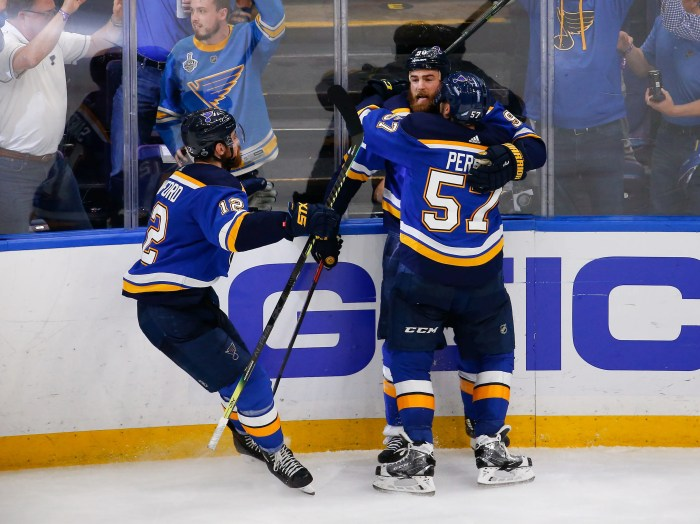St. Louis Blues center Ryan O'Reilly celebrates after scoring in the third period.