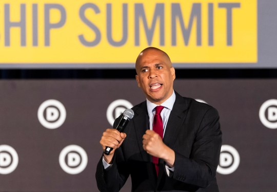 Democratic presidential candidate Sen. Cory Booker, of New Jersey, speaks during the African American Leadership Council Summit, Thursday, June 6, 2019, in Atlanta.