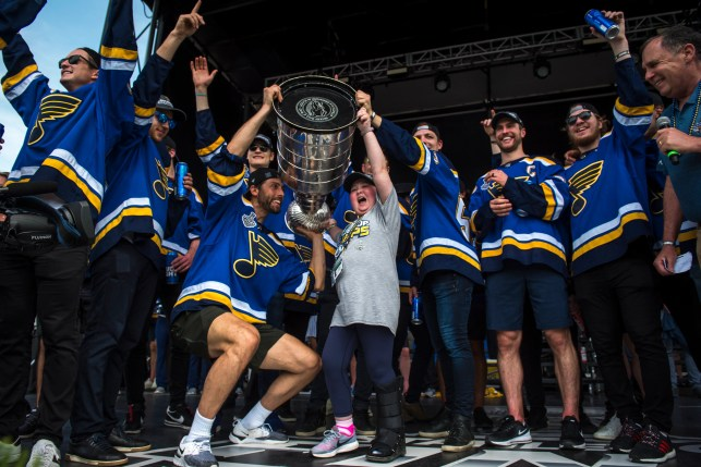 St. Louis Blues superfan Laila Anderson is surprised as team gives her championship ring