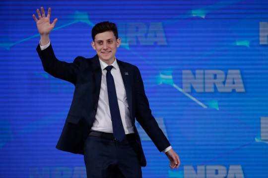 Kyle Kashuv, a survivor of the Marjory Stoneman Douglas High School shooting in Parkland, Fla., speaks at the National Rifle Association Institute for Legislative Action Leadership Forum in Indianapolis in April 2019.