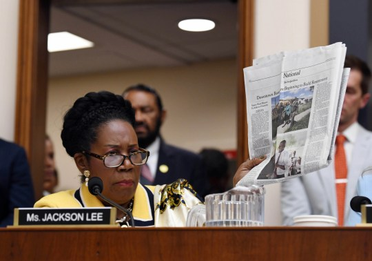Rep. Sheila Jackson Lee, D-Texas, speaks at a hearing of the House Judiciary Subcommittee on the Constitution, Civil Rights and Civil Liberties during a hearing on reparations for slavery on June 19, 2019 in Washington. Lee co-sponsored the bill  that coincides with Juneteenth, a holiday that marks the date that Texas abolished slavery in 1865.